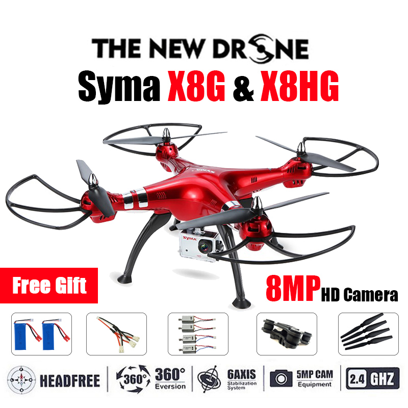 Professional Drone Syma X8G & X8HG 2.4G 4ch 6 Axis with 8MP Wide Angle Hd Camera RC Quadcopter RTF Altitude Hold RC Helicopter high quality syma x8c 2 4ghz 6 axis gyro uav rtf ufo with wide angle 2mp hd camera rc drone quadcopter helicopter