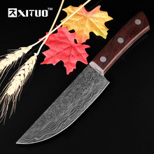 XITUO new 6″inch Utility Kitchen Knife Japanese Steel Utility Sharp Blade wood Handle Damascus Pattern Cleaver Slicing chef tool