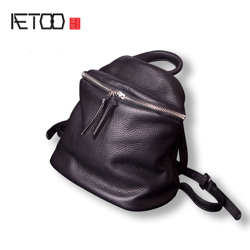 AETOO Mini backpack female leather small backpack simple casual new first layer of leather soft leather female backpack faux leather flowers mini backpack