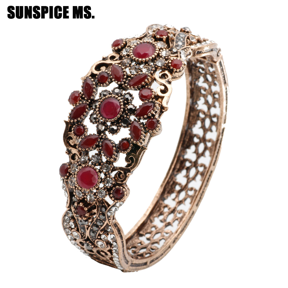 New Turkish Vintage Bangle Cuff For Women Antique Gold Color Rhinestone Hollow Flower Bracelet Bangle Retro Wedding Jewelry 2018 bangle