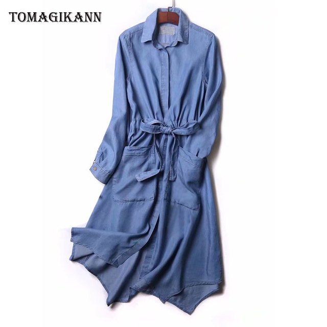 2018 Casual Solid Double Pockets Belted Tencel Denim Dress Vintage Lady Turn Down Collar Long Sleeve Loose Knee Length Dresses