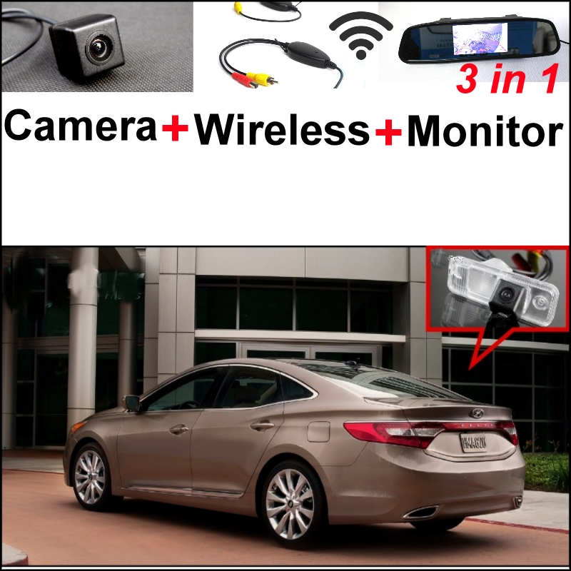 Mirror Monitor DIY Backup Parking System + 3 in1 Special Camera + Wireless Receiver + For Hyundai Grandeur 2011~2015 wireless pager system 433 92mhz wireless restaurant table buzzer with monitor and watch receiver 3 display 42 call button