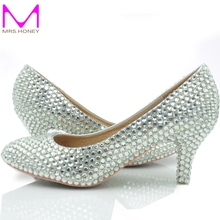 Middle Heel Silver Color Wedding Shoes Glitter Women Comfortable Party Prom Shoes Plus Size 43 in Stock Bridesmaid Shoes