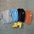 Primavera verão outono crianças camisola de malha cardigan crianças casaco de algodão do bebê das meninas dos meninos de manga longa Com Decote Em V roupas outwear