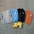 Primavera verano otoño niños de punto chaqueta de punto para niños ropa de abrigo muchachas de los bebés de algodón de manga larga Con Cuello En V outwear
