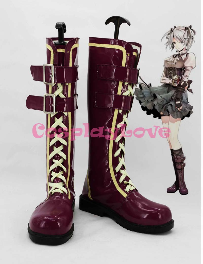 Newest Custom Made Japanese Anime God Eater 2 Ciel Alencon Purple Cosplay Long Boots Shoes For Christmas Halloween