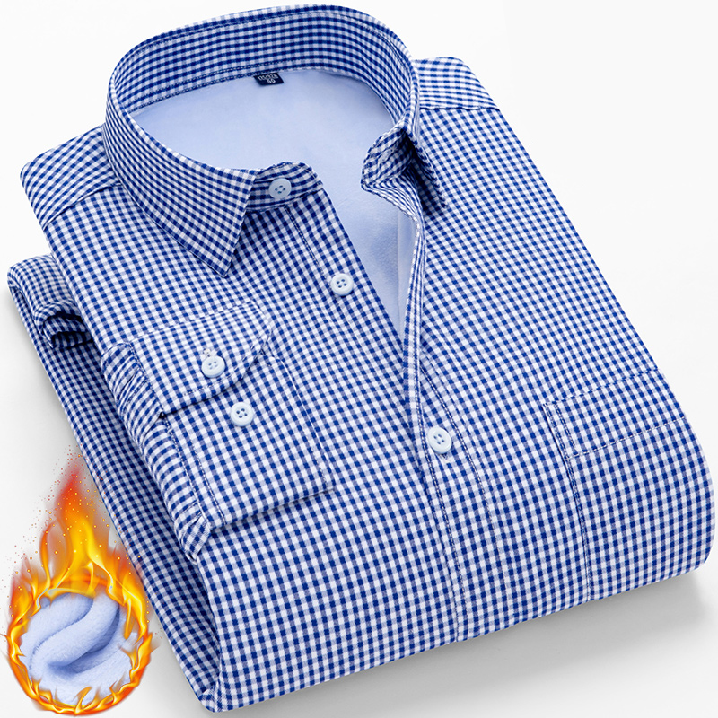 Winter Warm Long Sleeve Shirt Men New Fashion Brand Camisa Masculina Korean Slim Design Formal Casual Male Dress Shirt Plus Size