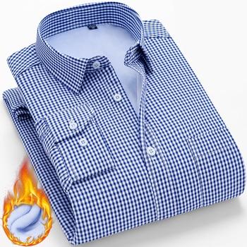 Winter Warm Long Sleeve Shirt Men New Fashion Brand Camisa Masculina Korean Slim Design Formal Casual Male Dress Shirt Plus Size Langmeng/hoodmat.com