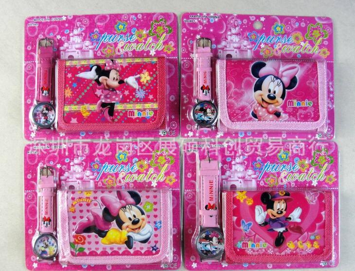12pcs lot Minnie Watch Set Cartoon Children Party supplies toy Girls Wristwatch Watch purse Set SM654