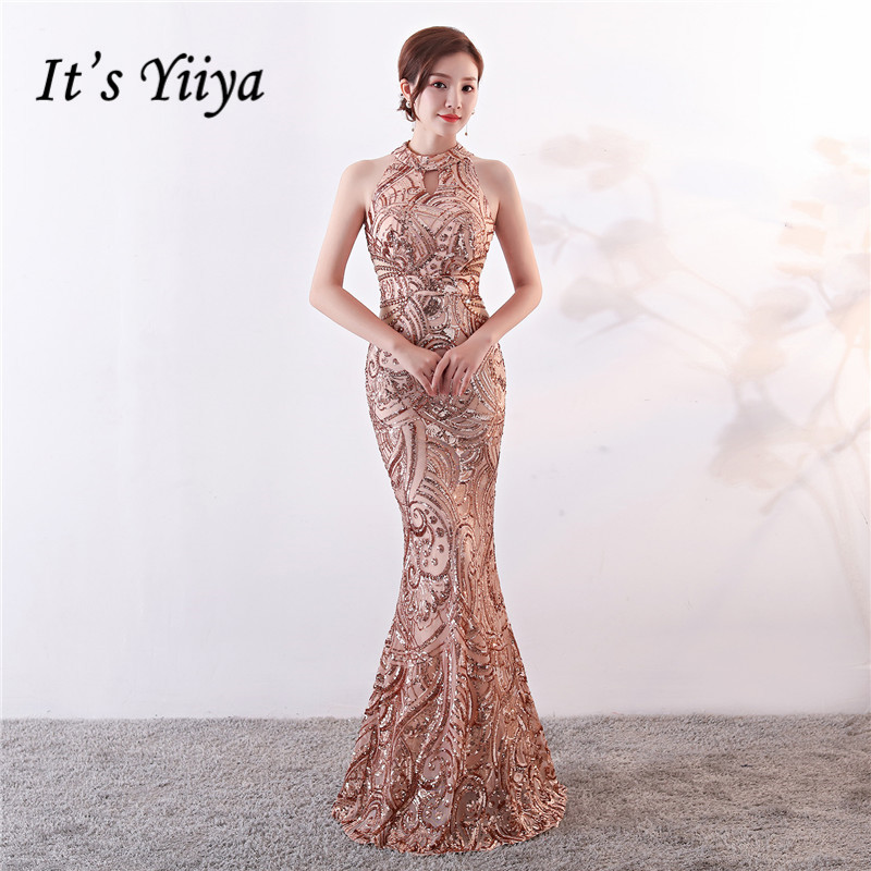 It's Yiiya Evening Dress Sequined Halter Trumpet Sleeveless Party Dresses Floor-length Zipper Back Long Mermaid Prom Gowns C160