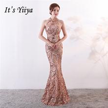 вечернее платье с блестками Холтер Труба it's yiiya Бальные