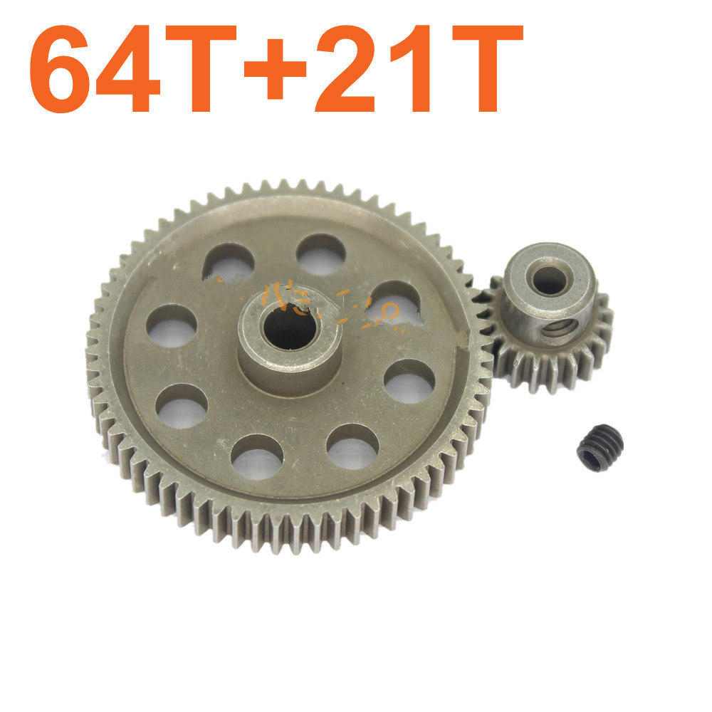 HSP 11184 Metal Diff.Main Gear 64T &11181 Motor Gear 21T RC Parts For RC 1:10th Car Monster Truck 1/10 BRONTOSAURUS Himoto 94111