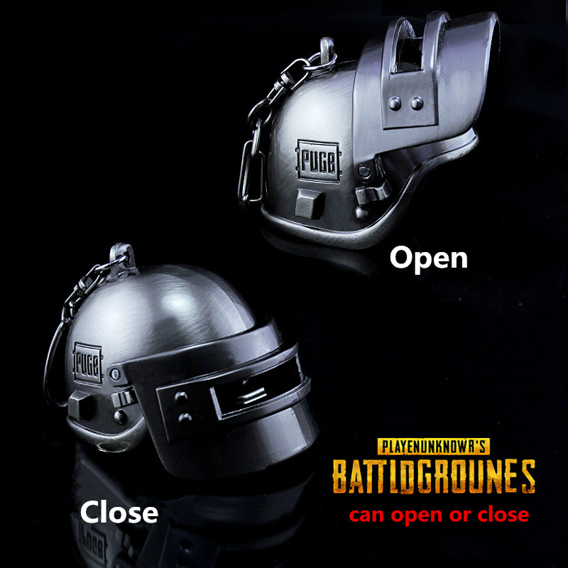 Game Playerunknown's Battlegrounds PUBG Zinc Alloy Lv3 Helmet Armor Model Can open close Key Chain Keychain Cosplay props