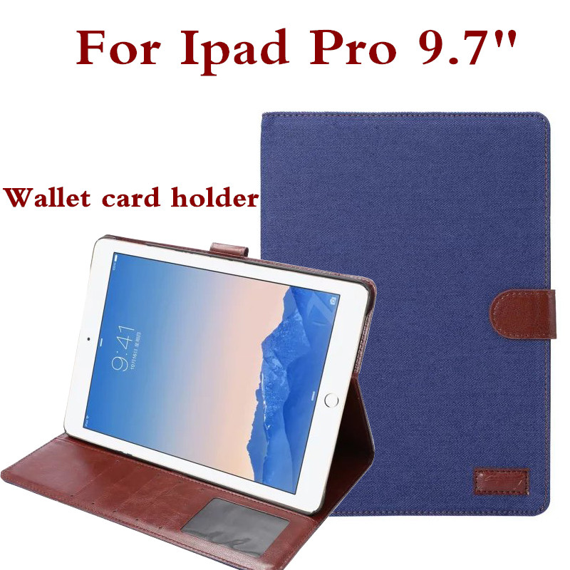 Wallet Card Holder Design PU Leather Case Cover For Apple iPad Pro 9.7 Cowboy Jeans Denim Screen Protector Film Pen As Gifts