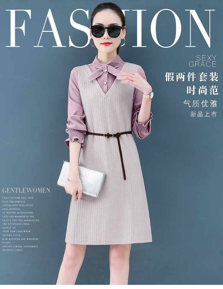 Render a dress in female new spring in the spring and autumn qiu dong fake two piece suit dress long 5