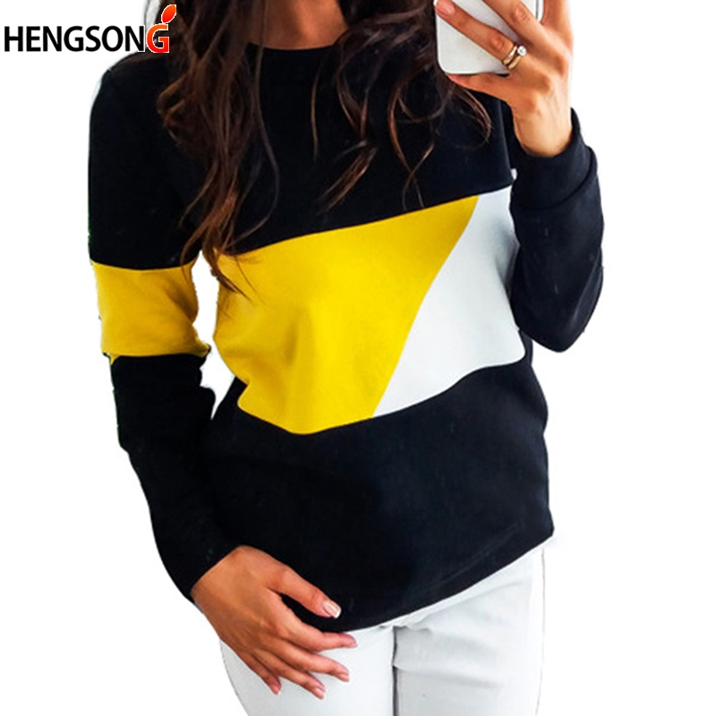 Women Long Sleeve Hoodies Pullovers Autumn Clothes Casual Block Patchwork Sweatshirt Lady Tops Sudaderas Para Mujer