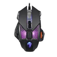 Wired Gaming Optical Mouse RGB Colorido Backlight Macro Metal Base Auxiliar Credenciado 8 Botão Do Mouse