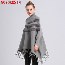 2018 Autumn Pullover Fashion Women Loose Batwing Sleeves Poncho Winter Warm Knitted Plus Size Patchwork Faux Fur Tassel Sweater