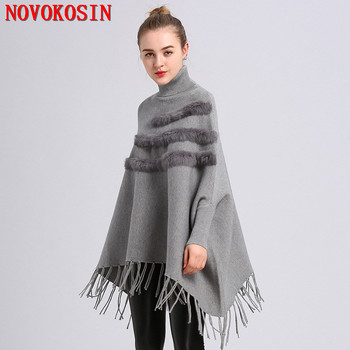 2018 Autumn Pullover Fashion Women Loose Batwing Sleeves Poncho Winter Warm Knitted Plus Size Patchwork Faux Fur Tassel Sweater plus size fringed zigzag poncho sweater