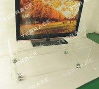 Прозрачный акриловый ТВ стоять на колесах, Lucite Rolling иногда стороне Кофе Чай таблицы