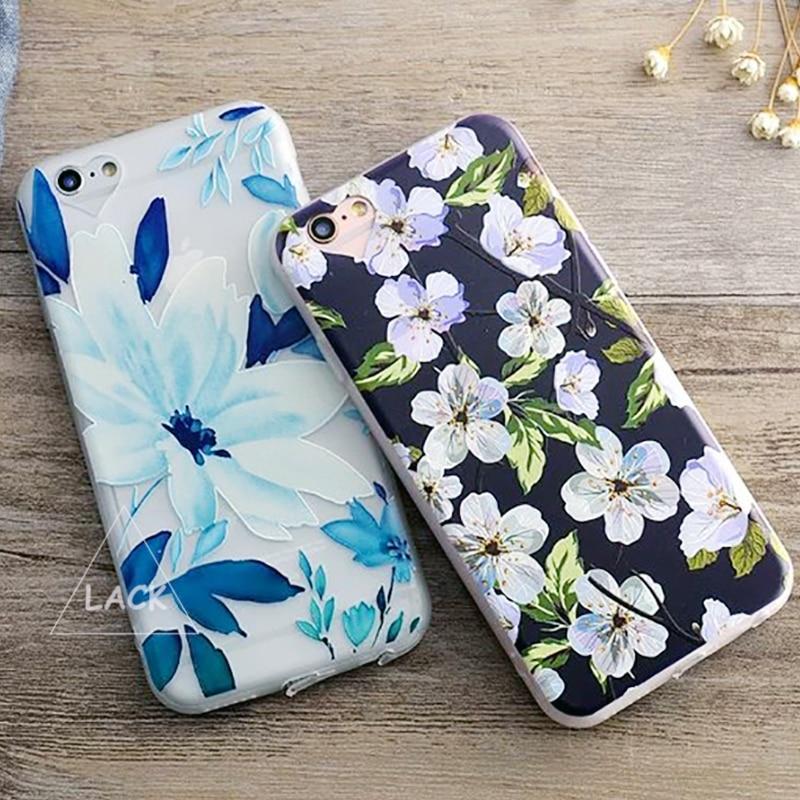 Tpu 3d relieves caso para iphone 6 hojas de las plantas para iphone 6 s 6 más cl