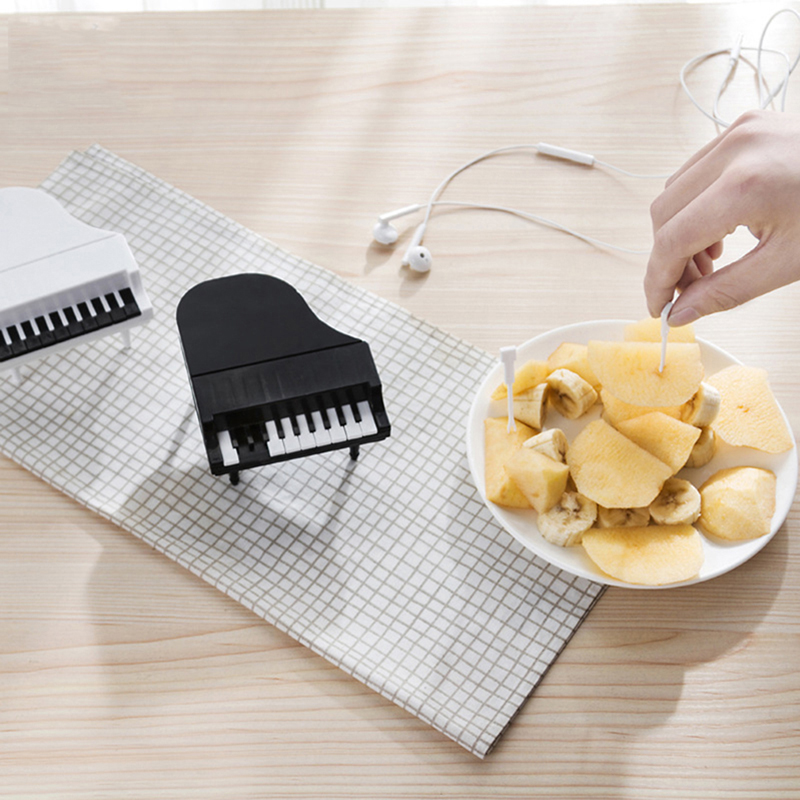 10pcs/set Creative Piano Modeling Fruit Fork Eco-Friendly Easy Decoration Kitchen Bar Kids Dessert Forks Handle Fruit Tools