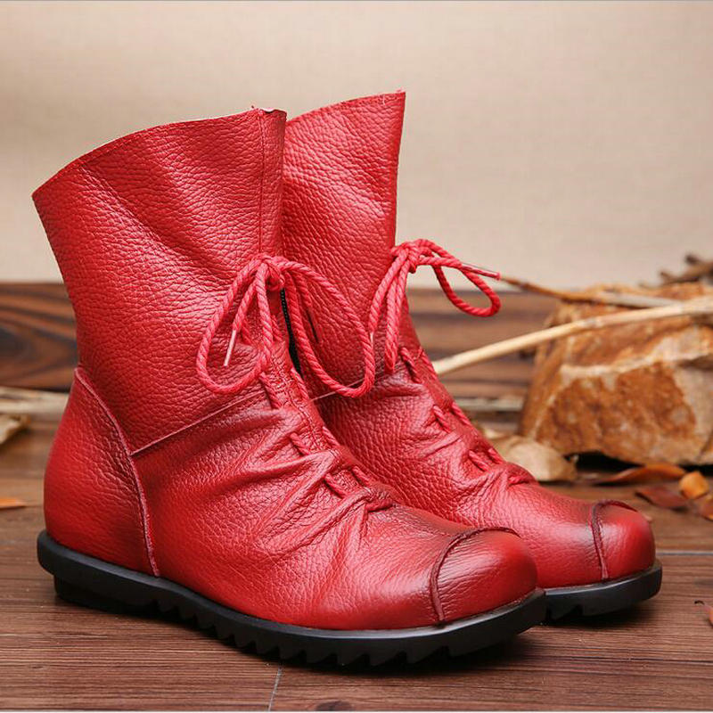 2017 Vintage Style Genuine Leather Women Boots Flat Booties Soft Cowhide Women's Shoes Front Zip Ankle Boots Zapatos Mujer maylosa 2017 vintage style genuine leather women boots flat booties soft cowhide women s shoes zip ankle boots warm winter shoe