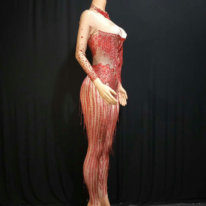 Super Sparkly RhinestoneJumpsuit Stretch Sexy Red Glisten Crystals Costume EveningTassel Celebrate Dress Wear Luxurious Outfit in Chinese Folk Dance from Novelty Special Use