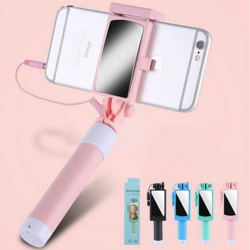 Universal Mini Selfie Stick With Button Wired Silicone Handle Monopod For iPhone 6/6S Android <font><b>Samsung</b></font> Huawei Xiaomi Sticks image