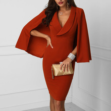2019 fashion new Office Lady red dress Cloak Sleeves shawl dress sexy wild temperament high quality summer women dress sexy