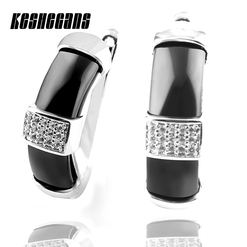 2017 New Fashion Black Natural Stone Women Earrings With Bling Rhinestone Elegant White Ceramic Stud Earrings U Shape For Women недорго, оригинальная цена