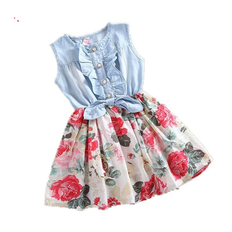 Girls Dress Summer 2017 Girl Flower Dress Baby Sleeveless Dresses Children Denim Dresses Kids Party Princess Clothes summer flower girls dress baby girl pink lace sleeveless princess dress 2017 kids clothes children dresses for party and wedding