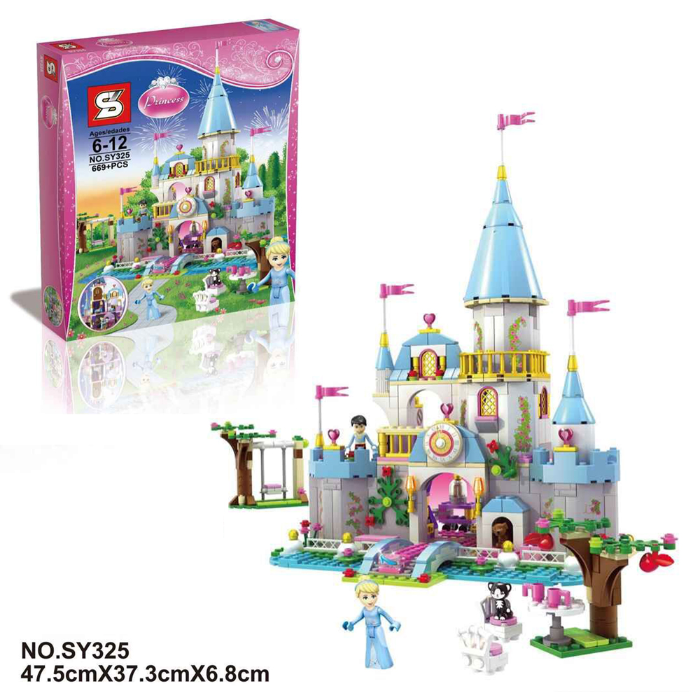 SY325 699Pcs Cinderella Princess Romantic Castle Model Building Kits Girl Friend Blocks Bricks Toys Compatible Lepin 79279