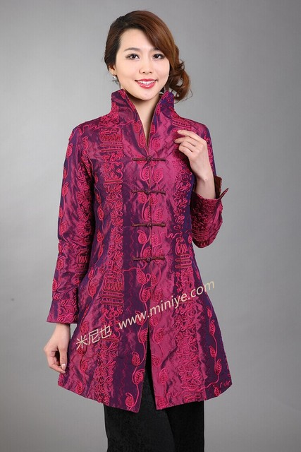 Discount Burgundy Female Silk Polyester Outwear Chinese Traditional Tang Suit Middle-Aged Mother Long Coat Size S To XXXL T045