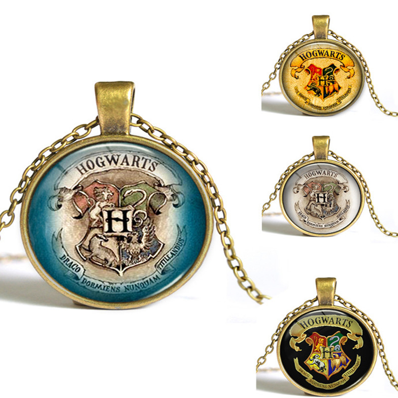 Fashion Retro Hogwarts Necklace Around Gem Time Sources Glass Cabochon Necklace Pendant Y027