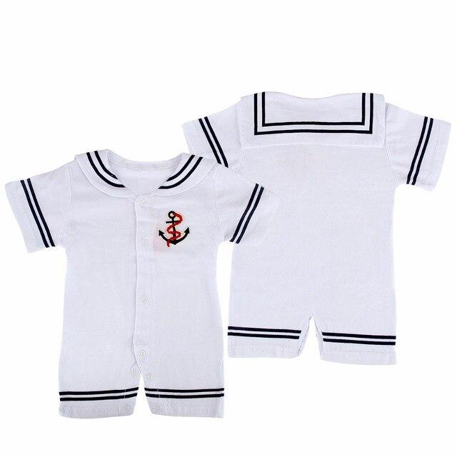 2017 Bebê Recém-nascido Roupas Uniformes de Marinheiro da Marinha Do Bebê Verão  Macacão de 810ad8fa0ee