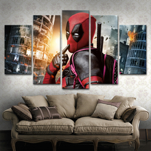 5 Panels Movie Deadpool Poster Canvas Print Modular Picture Wall Art Decorative Living Room Or Bedroom Framework Modern Artwork