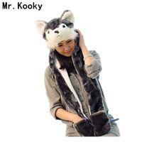 Mr. Kooky Vogue Czapka Zimowa Animal Hat Długie Ucho Zabawny Kapelusz Wszystkie Dzieci Odzież Akcesoria Panda Husky Wilk Królika rozliczenie Rabat