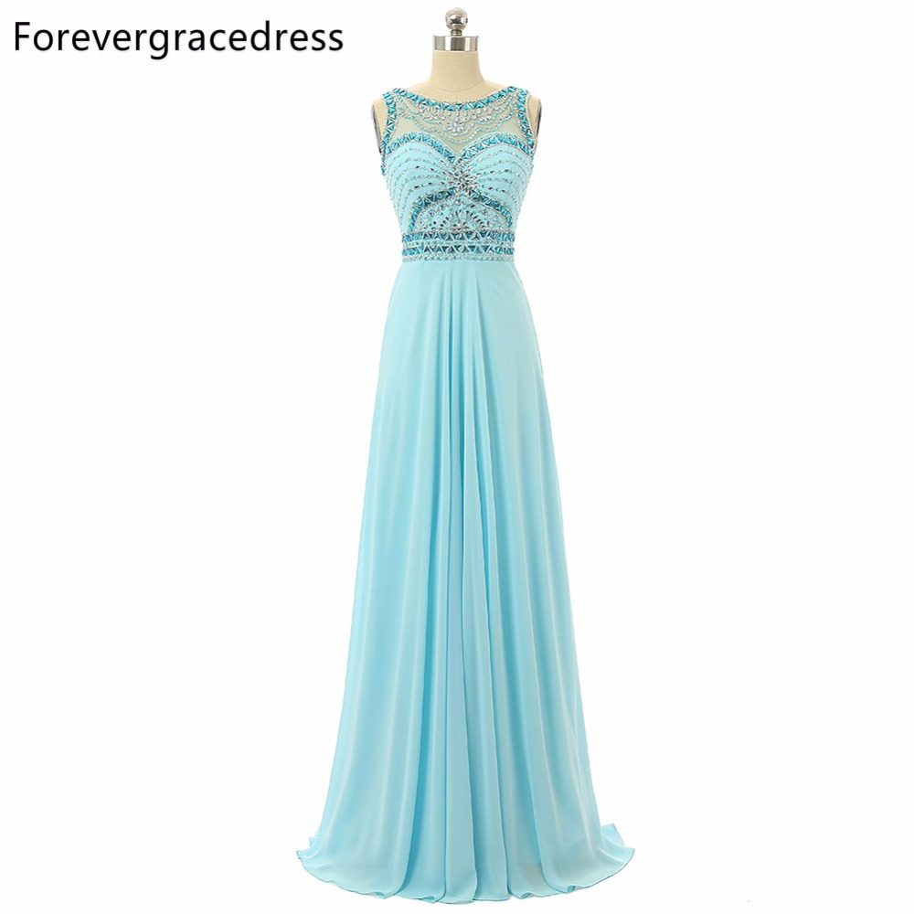 Forevergracedress 2018 Sexy Light Blue   Prom     Dress   Sheer Top Neck Beaded Crystals Sleeveless Long Formal Party Gown Plus Size