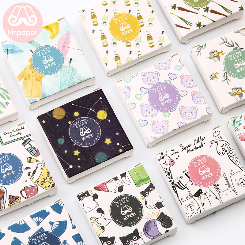Mr.paper 40Pcs/box Cute Diary Stickers Scrapbooking Happy Holiday Series Planner Japanese Kawaii Decorative Stationery Sticker