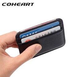 COHEART Super Slim Macio Carteira 100% genuína Pele de Carneiro de couro mini titulares de cartão de Homens Carteira da bolsa da carteira do cartão de crédito Fino Pequeno!