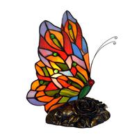 Stained Glass Color Small Flower Tiffanylamp Cute Butterfly Decorative Nightlight Kids Baby Led Night Light Lamp For Children