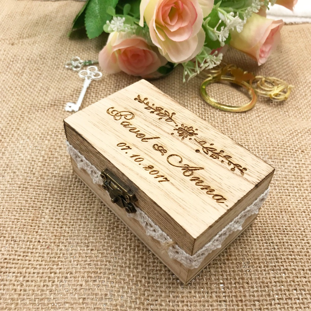 Us 854 5 Offpersonalized Wedding Ring Box Wooden Ring Holder Box Wedding Decor Customized Wedding Gifts Rustic Wedding Ring Bearer Box In Party