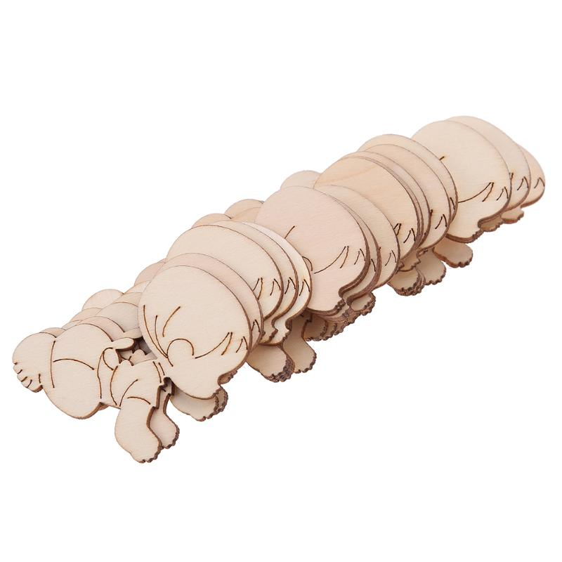 20pcs/set Laser Cutting Cute Baby Shape Wooden Chips Decorative Embellishments Craft for Party Wedding Decorations