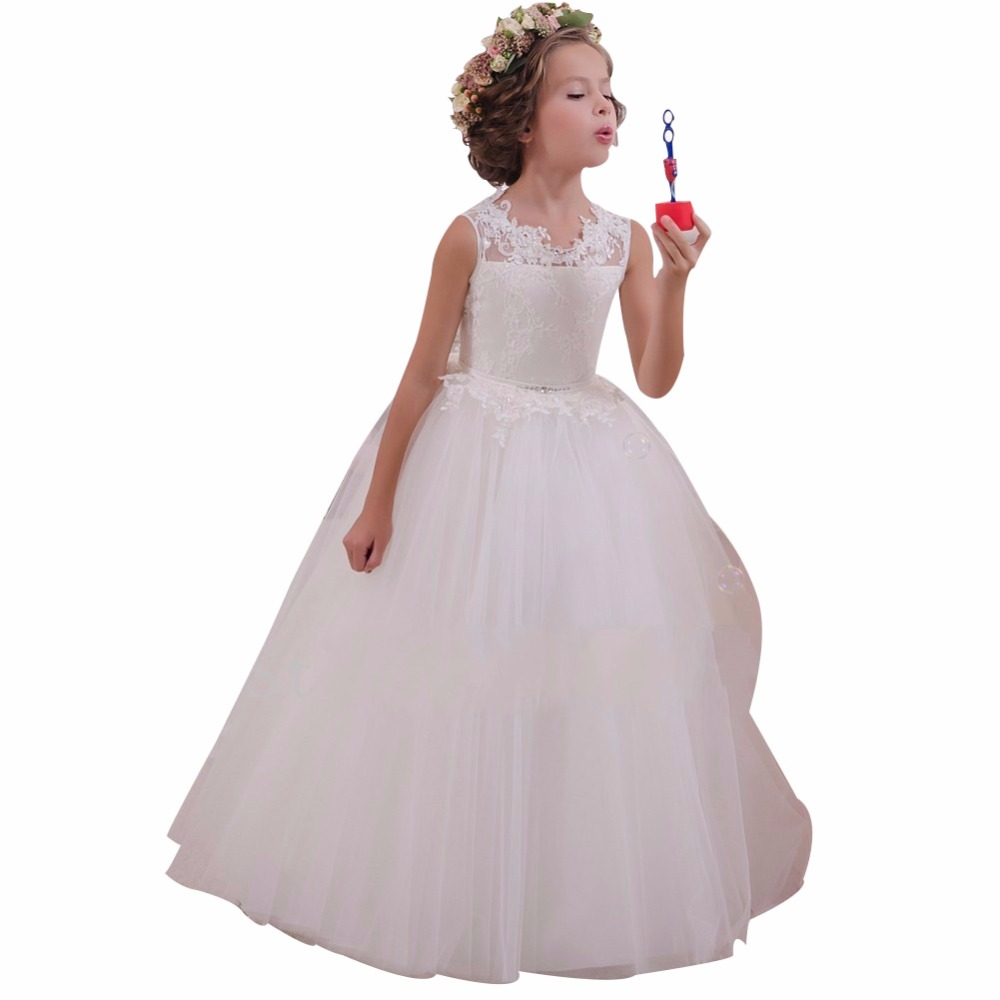ZYLLGF Bridal Ball Gown Tulle   Flower     Girls     Dress   High Quality Long   Girls   Pageant   Dresses   Floor Length With Back Bow FP34