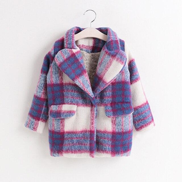 2017 Осень зима новое прибытие детей пальто Девушки шерстяное пальто плед куртка детская одежда куртка