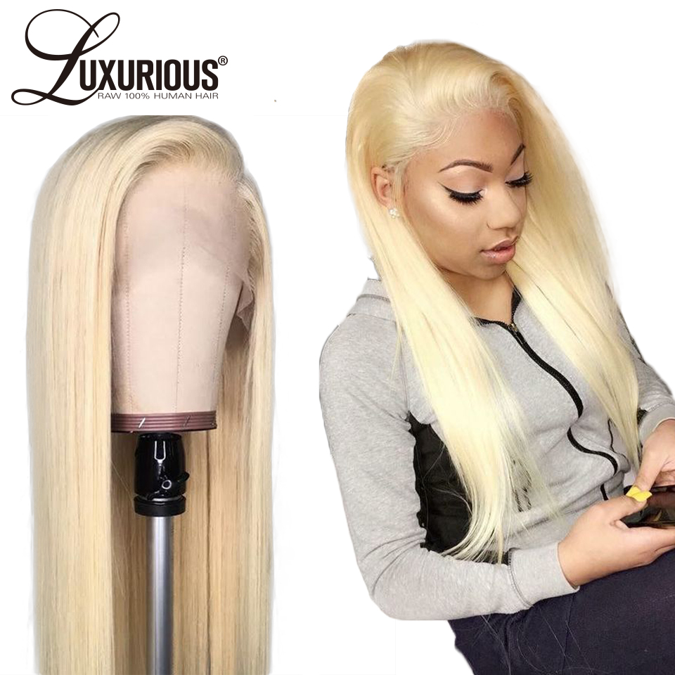150 Density 13X4 Blonde Lace Front Human Hair Wigs With Transparent Lace Pre Plucked Straight Brazilian