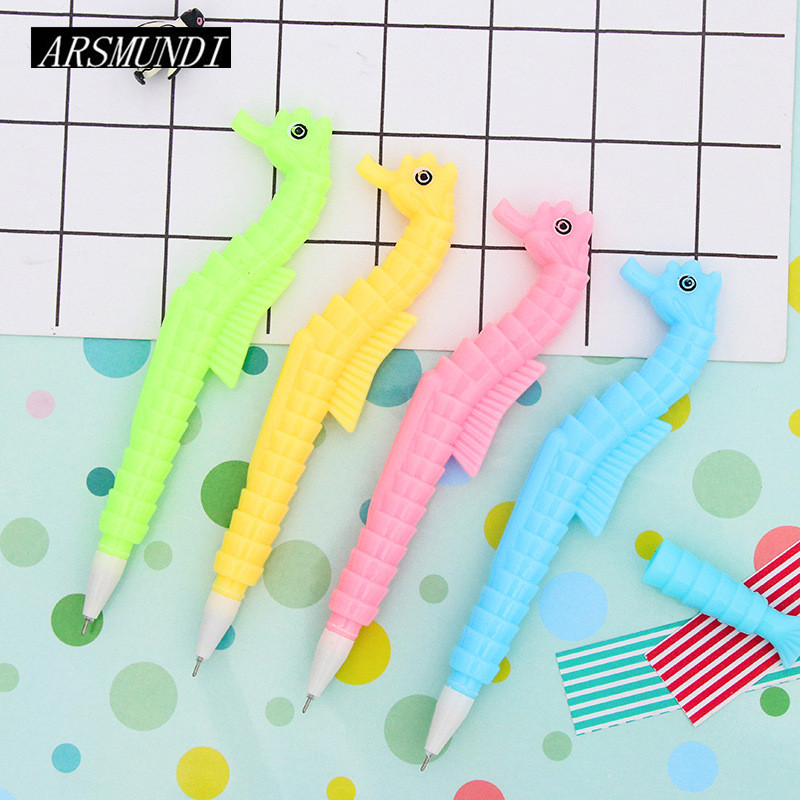 2pcs/set Creative Kawaii Sea Horse Shape Gel Pen For School Cute Pen Blue For Writing Funny School Supplies Stationery