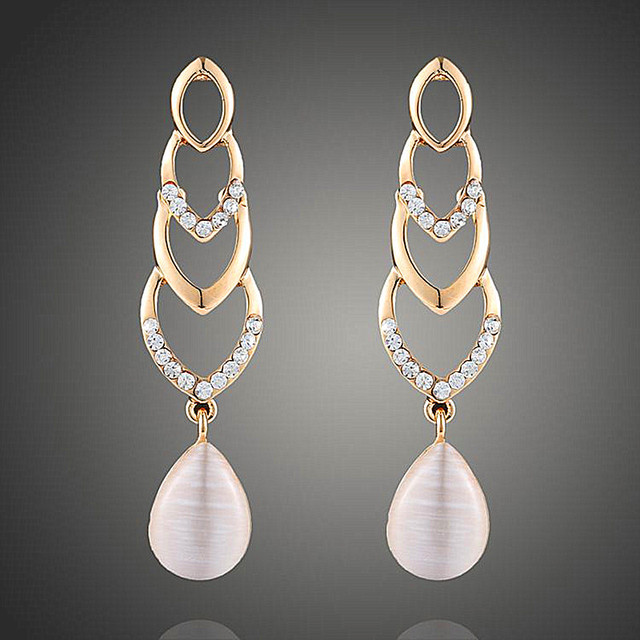 2017fashion Plated gold earrings Romantic Heart-shaped inlay zircon opal water droplets Studs Earrings For Women Wedding jewelry