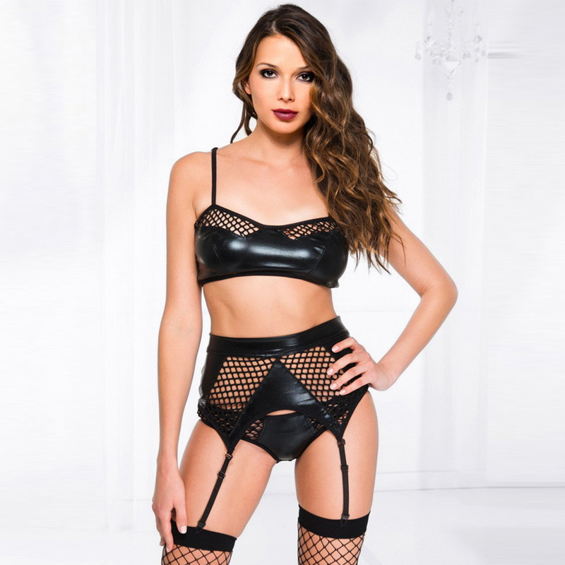 Plus Gothic Women Wetlook And Fishnet Lingerie Sets Black Sexy Faux Leather Crop Tops Lace Bottom